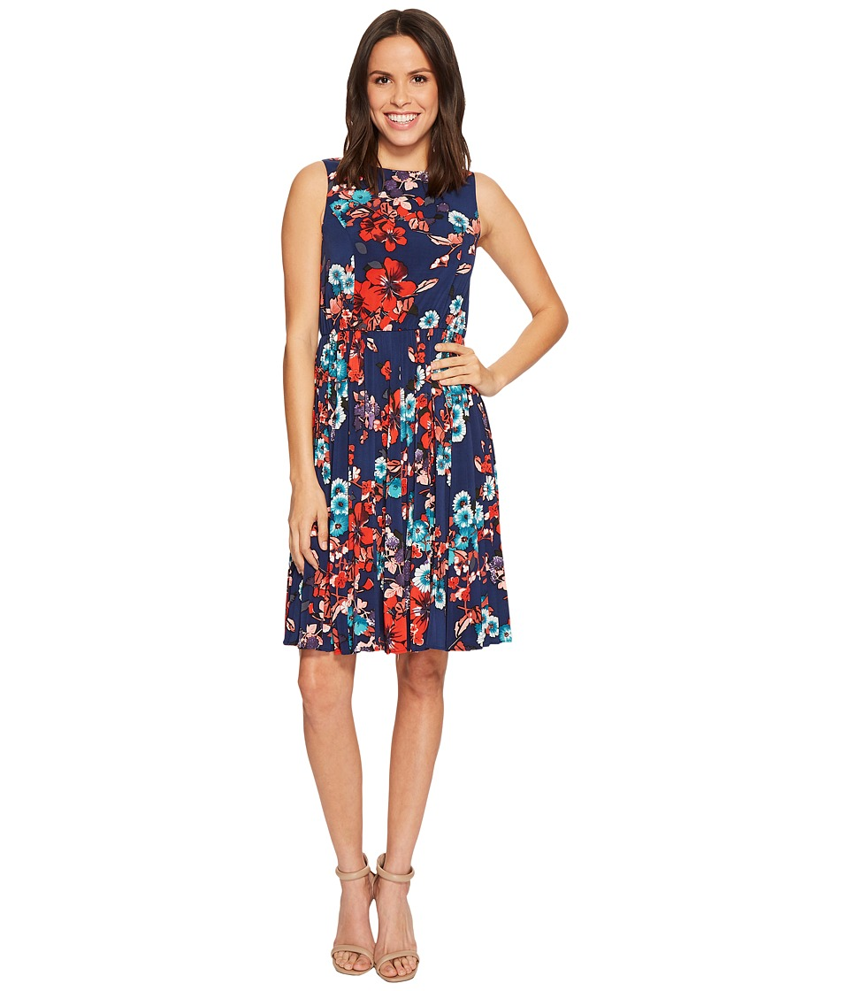 Adrianna Papell Botanical Soiree Floral Printed Pleated Fit and Flare Dress, Fully Lined (Blue Multi) Women