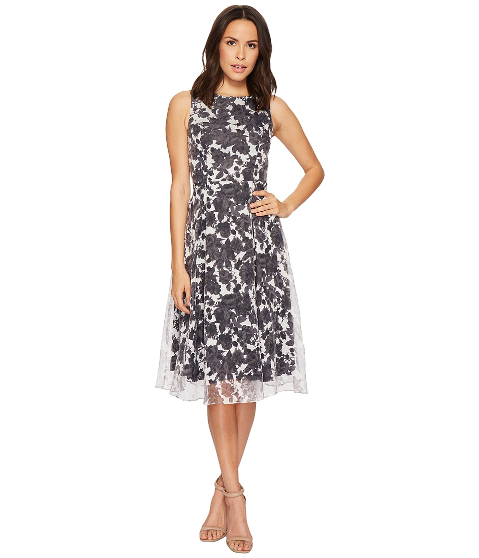Adrianna Papell Alyssa Floral Organza Burnout Fit and Flare (Lilac Multi) Women