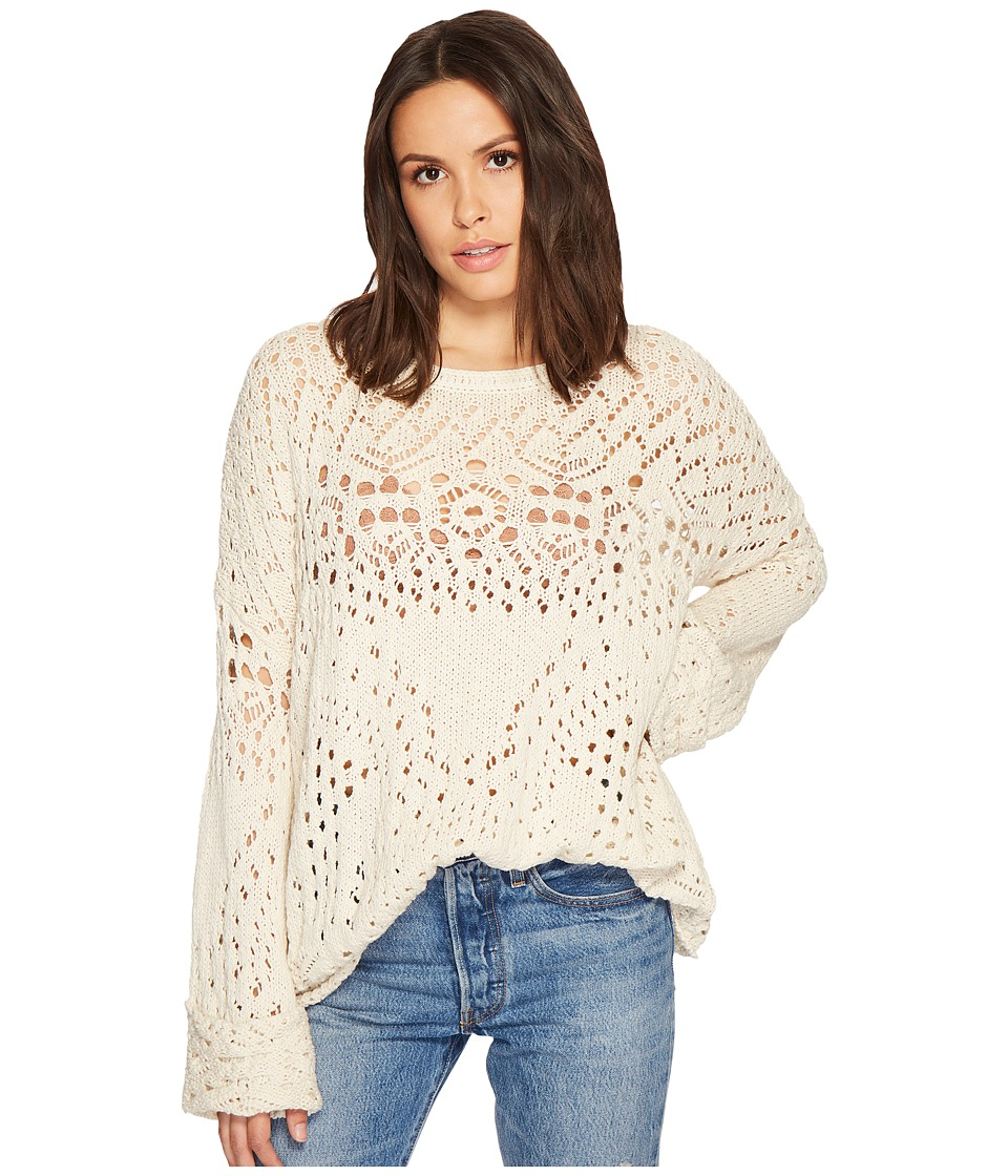 Free People Traveling Lace Sweater (Ivory) Women