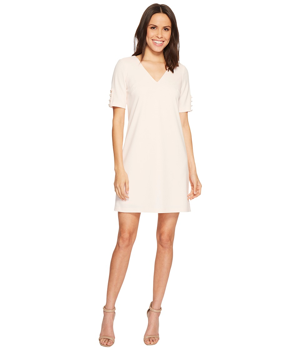 Adrianna Papell Knit Crepe Buttoned Shift (Satin Blush) Women