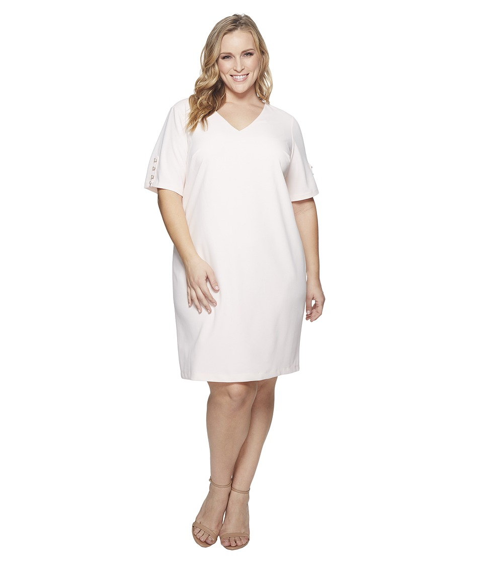 Adrianna Papell Plus Size Knit Crepe Buttoned Shift (Satin Blush) Women