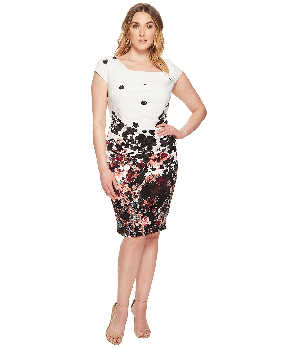 Adrianna Papell Plus Size Floral Bliss Printed Stretch Crepe Sheath Dress with Cowl Neckline and Draped, Tucked Body, Fully Lined (Ivory Multi) Wom...