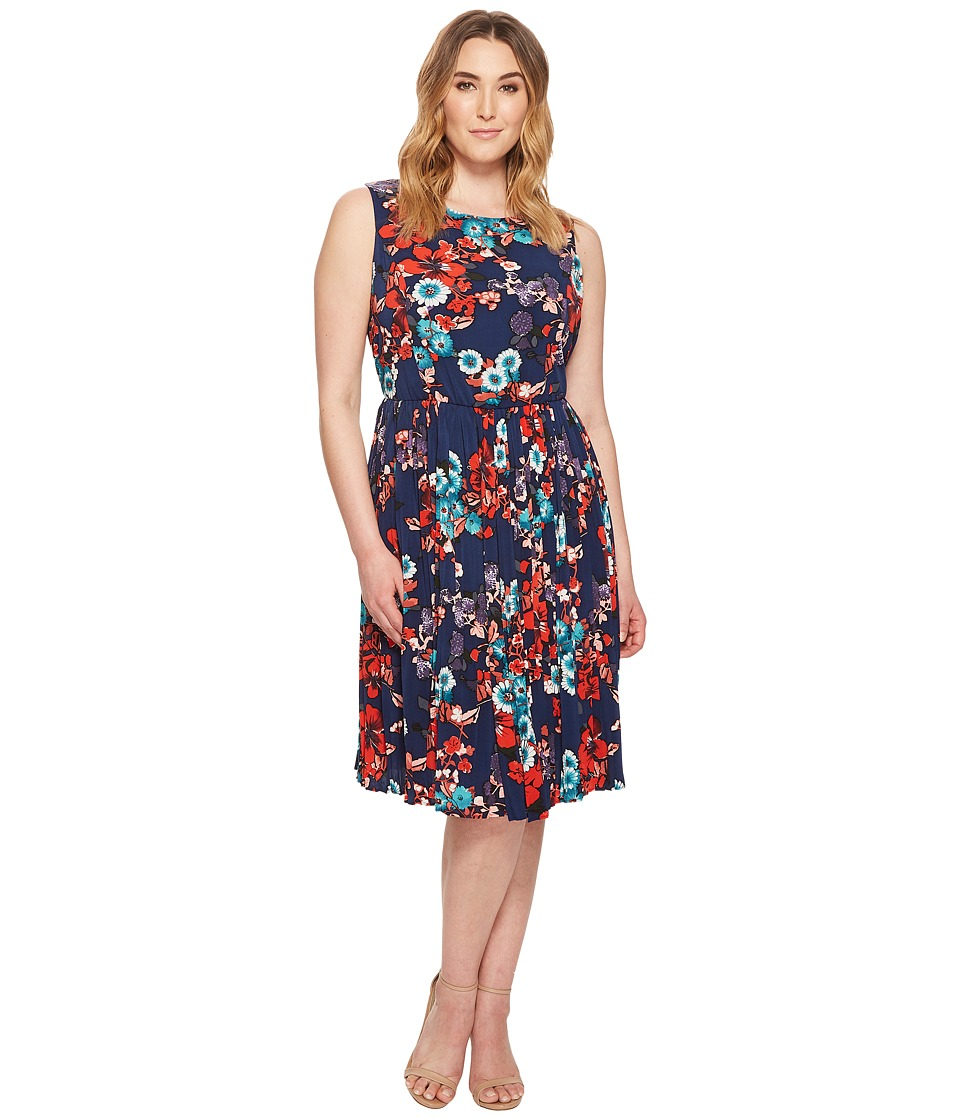 Adrianna Papell Plus Size Botanical Soiree Floral Printed Pleated Fit and Flare Dress, Fully Lined (Blue Multi) Women