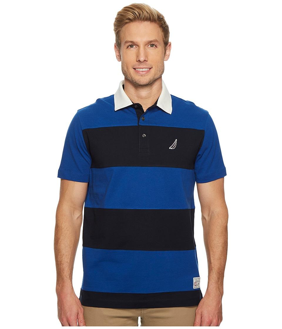 Nautica Short Sleeve Rugby Stripe Polo (Monaco Blue) Men