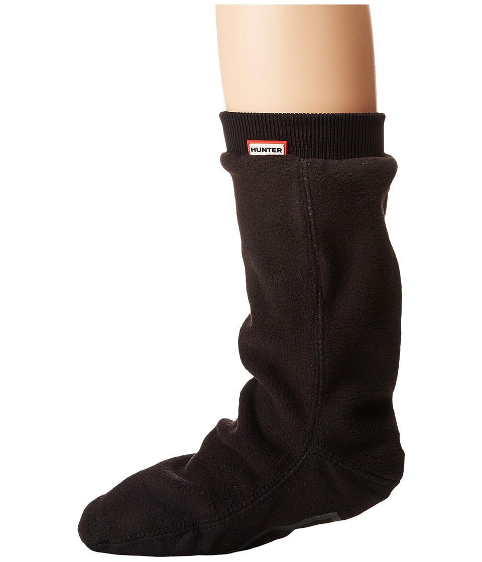 Hunter Original Short Boot Sock Fitted Fleece (Black) Knee High Socks Shoes
