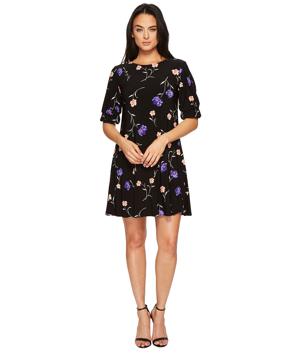 LAUREN Ralph Lauren Abiela Calendar Floral Matte Jersey Dress (Black/Blue/Multi) Women
