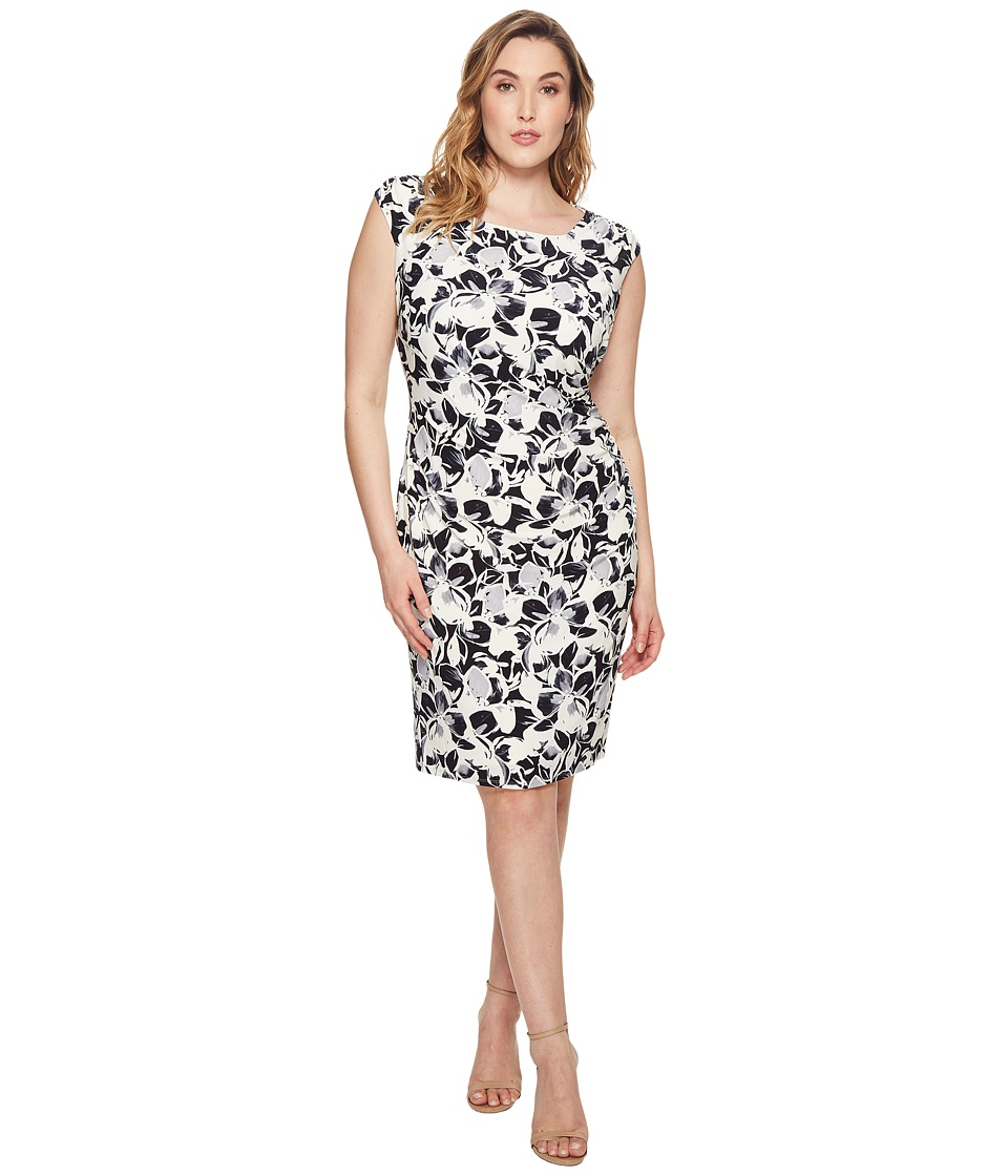 LAUREN Ralph Lauren Plus Size Koriza Montero Floral Matte Jersey Dress  (Lighthouse Navy/Grey