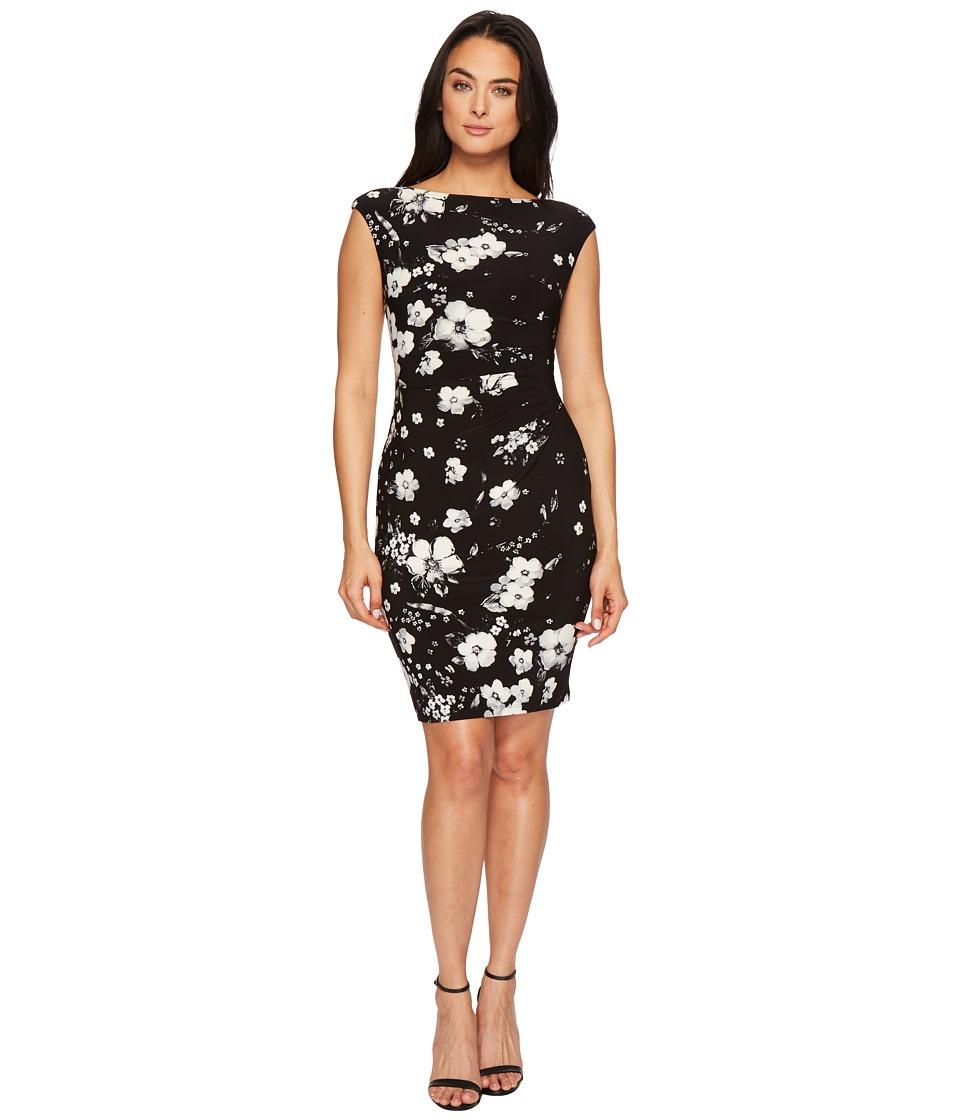 LAUREN Ralph Lauren Novellina Assouline Floral Boarder Matte Jersey Dress (Black/Colonial Cream/Multi) Women