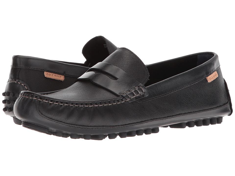 Cole Haan Coburn Penny Driver II (Black Textured Leather) Men