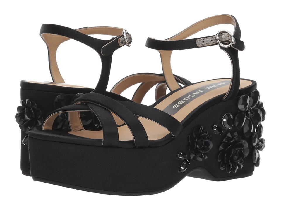 Marc Jacobs Callie Embellished Wedge Sandal (Black) Women