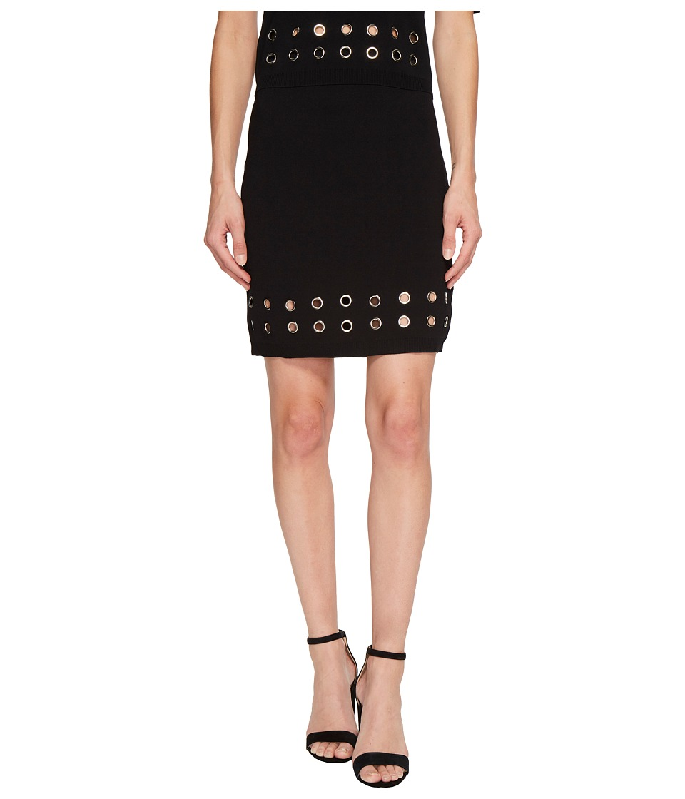 MINKPINK Eyelet Rib Skirt (Black) Women