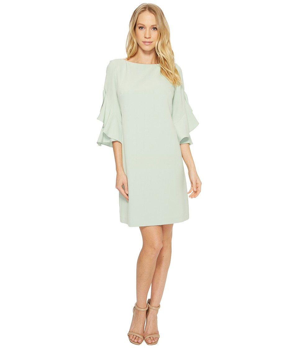 Taylor Double Ruffle Sleeve Shift Dress (Sage) Women