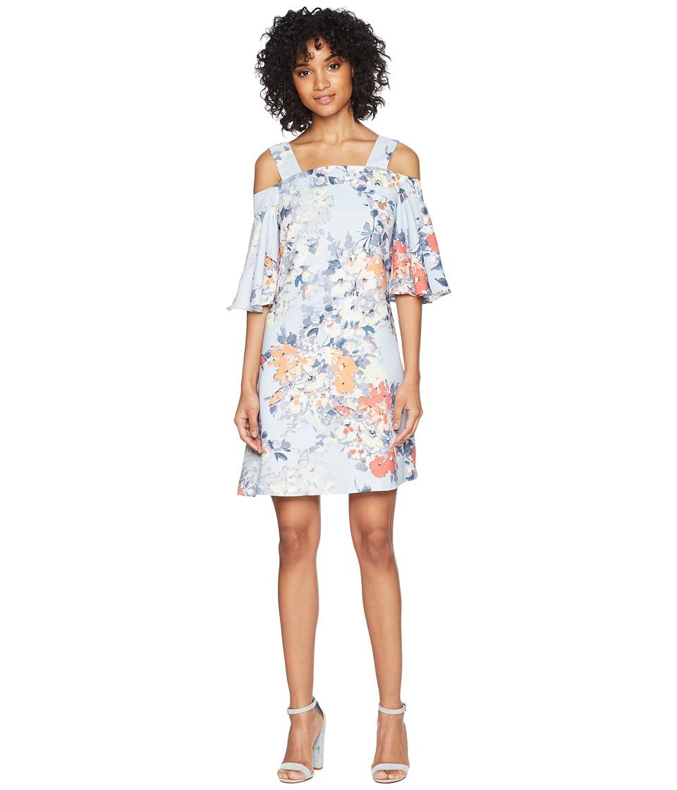 Taylor Cold Shoulder Floral Shift Dress (Powder Blue) Women