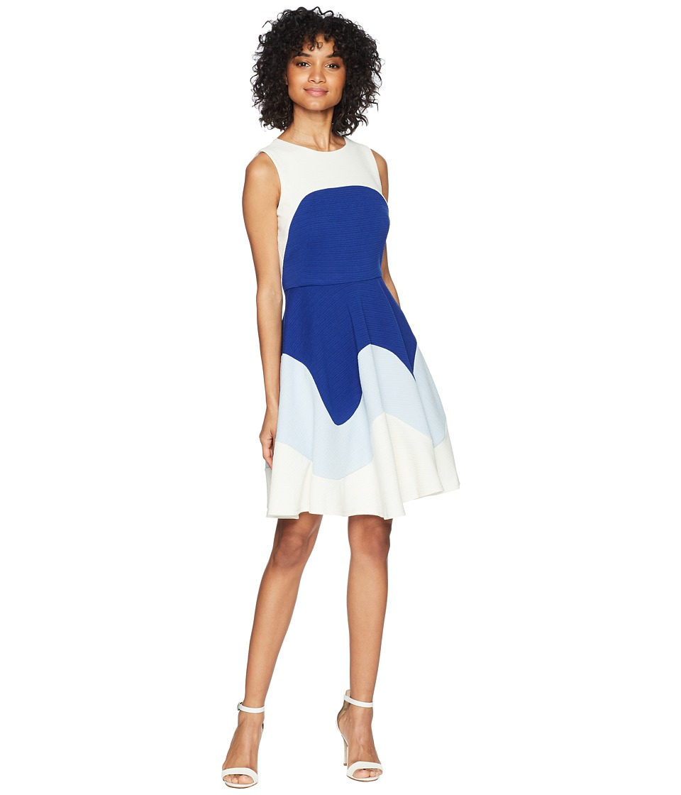 Taylor Color Block Textured Fit and Flare Dress (Cobalt/Ivory) Women