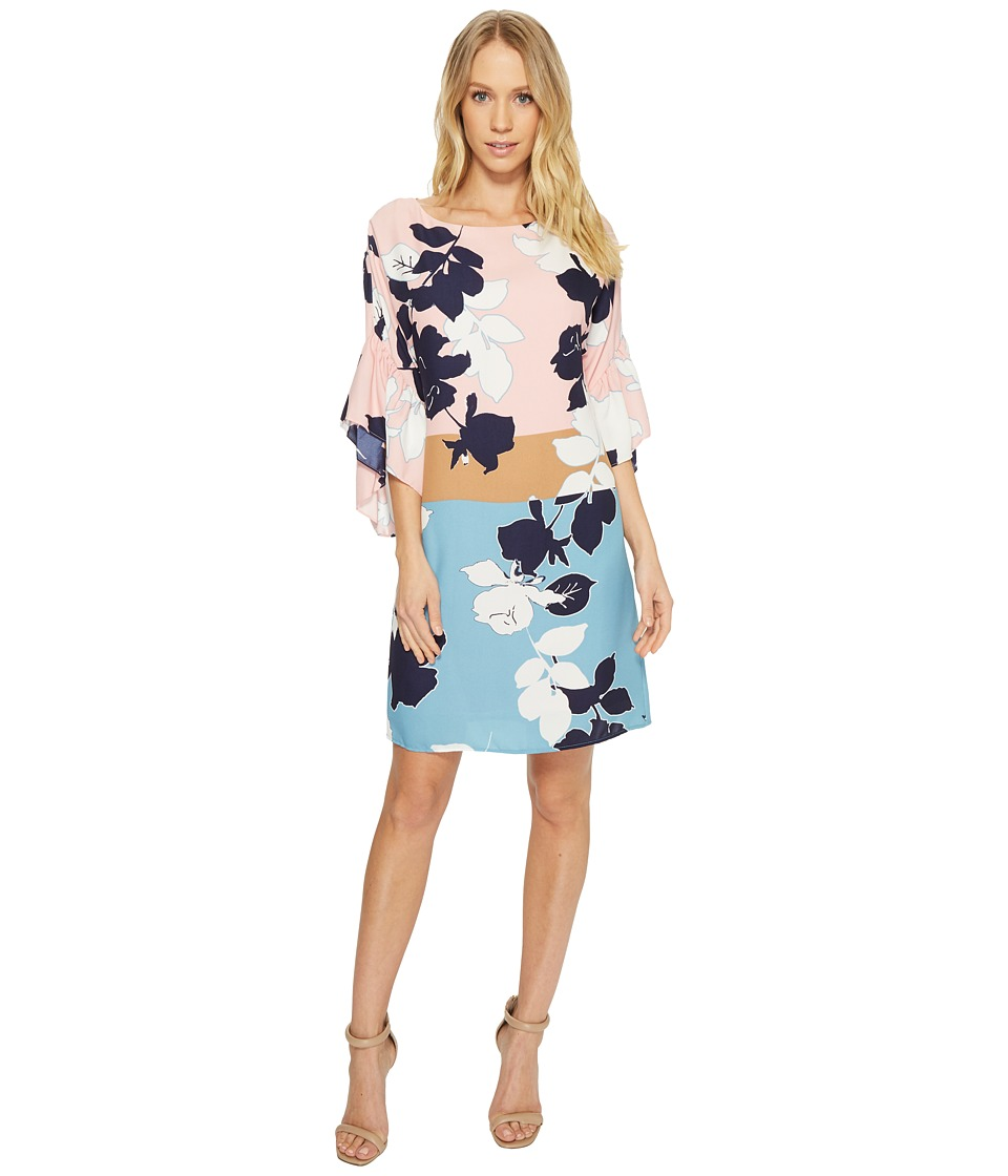 Taylor Floral 3/4 Sleeve Shift Dress (Blush Multi) Women