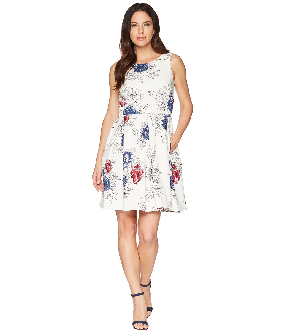 Taylor Floral Print Box Pleated Fit and Flare Dress w/ Pockets (Ivory Multi) Women