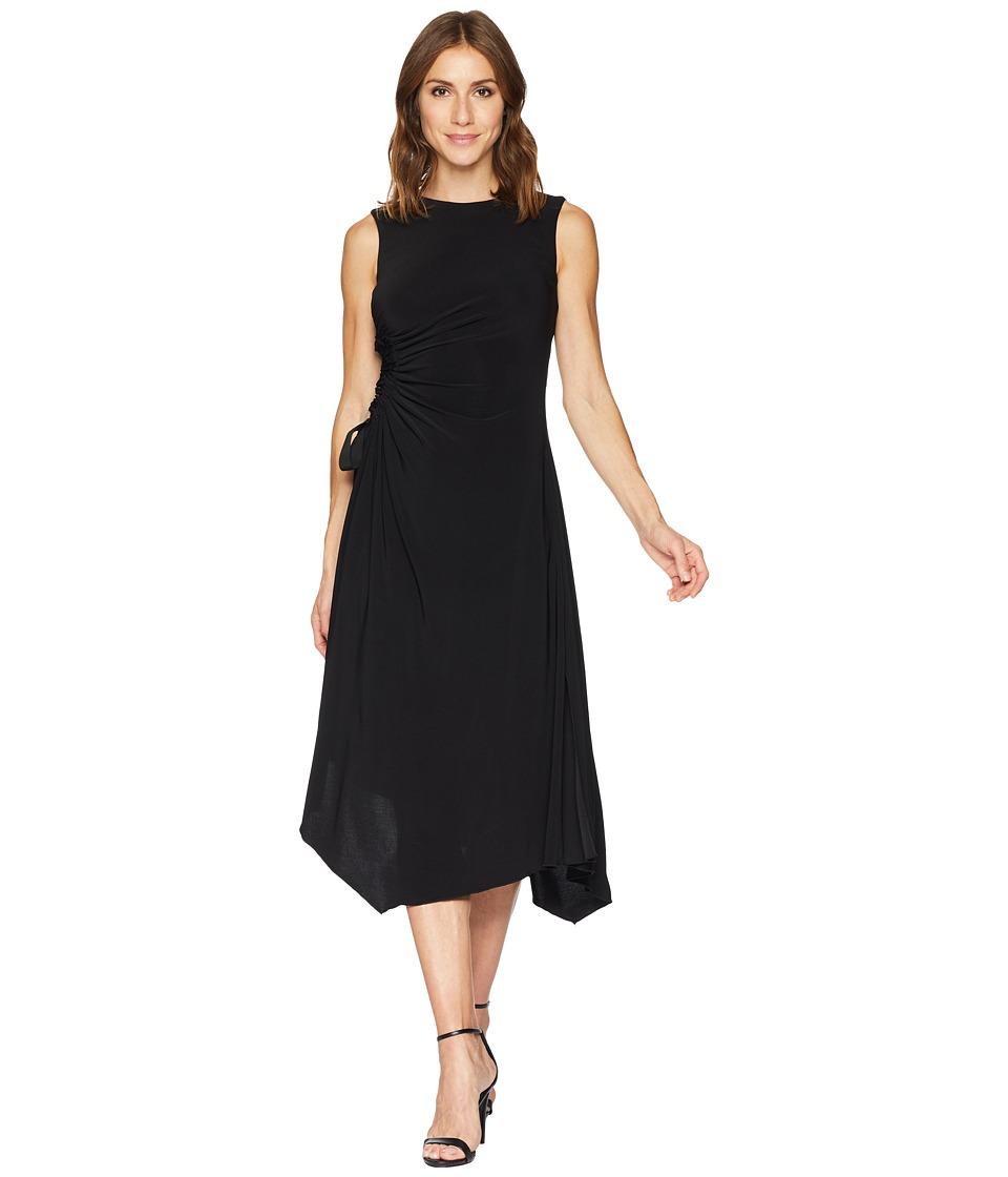 Taylor Jewel Neck Solid Side Ruched Jersey Dress (Black) Women