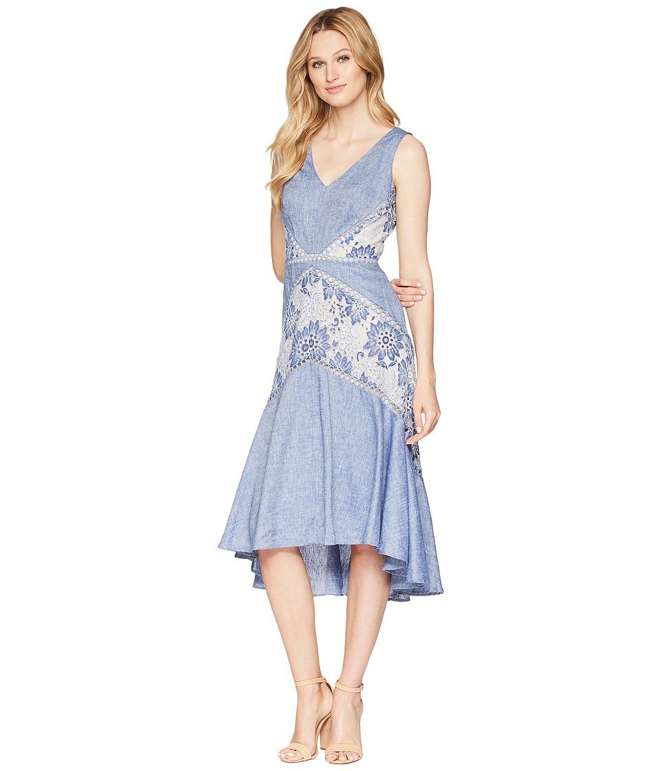 Taylor Lace V-Neck Linen Dress (Chambray/Nude) Women