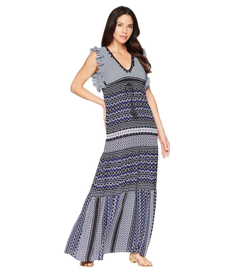Taylor Mixed Print V-Neck Maxi Dress (Navy/Black) Women