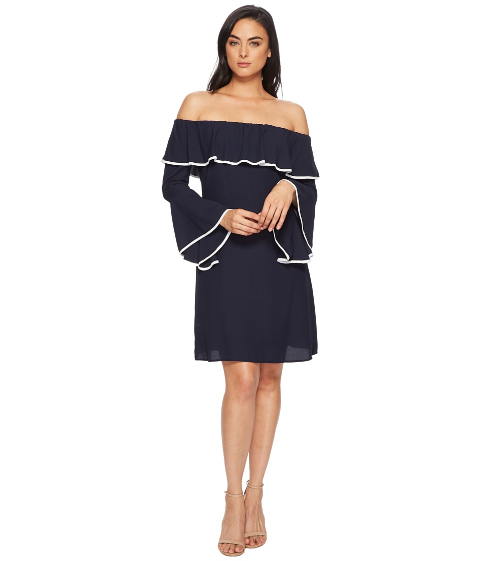 Taylor Off Shoulder Ruffle Sleeve Dress (Navy/Ivory) Women