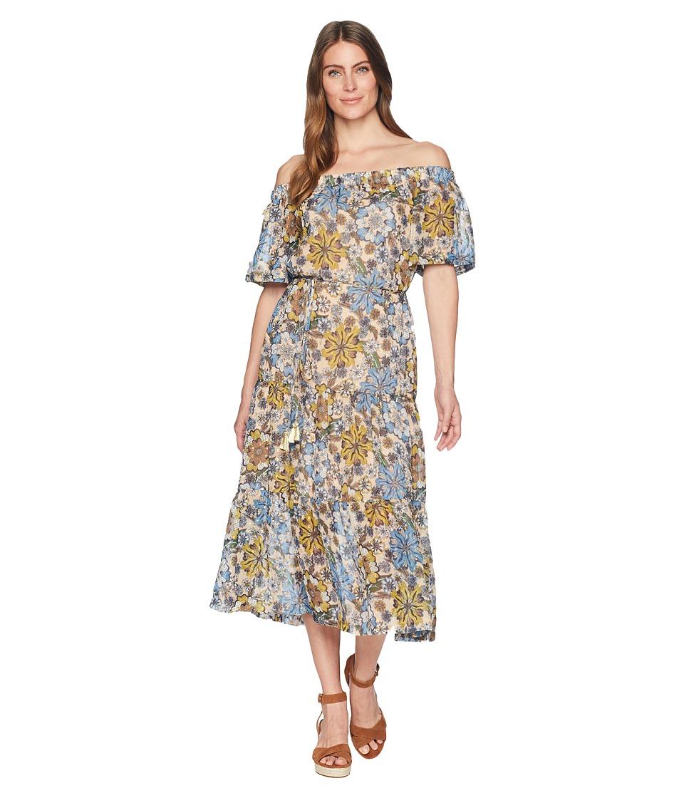 Taylor Off-the-Shoulder Floral Print Chiffon Maxi with Tie Belt (Blue/Saga) Women
