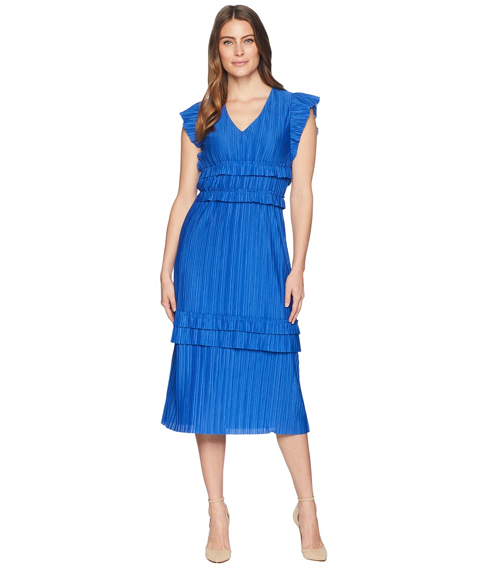 Taylor Pleated Short Sleeve V-Neck Midi Dress (Royal) Women