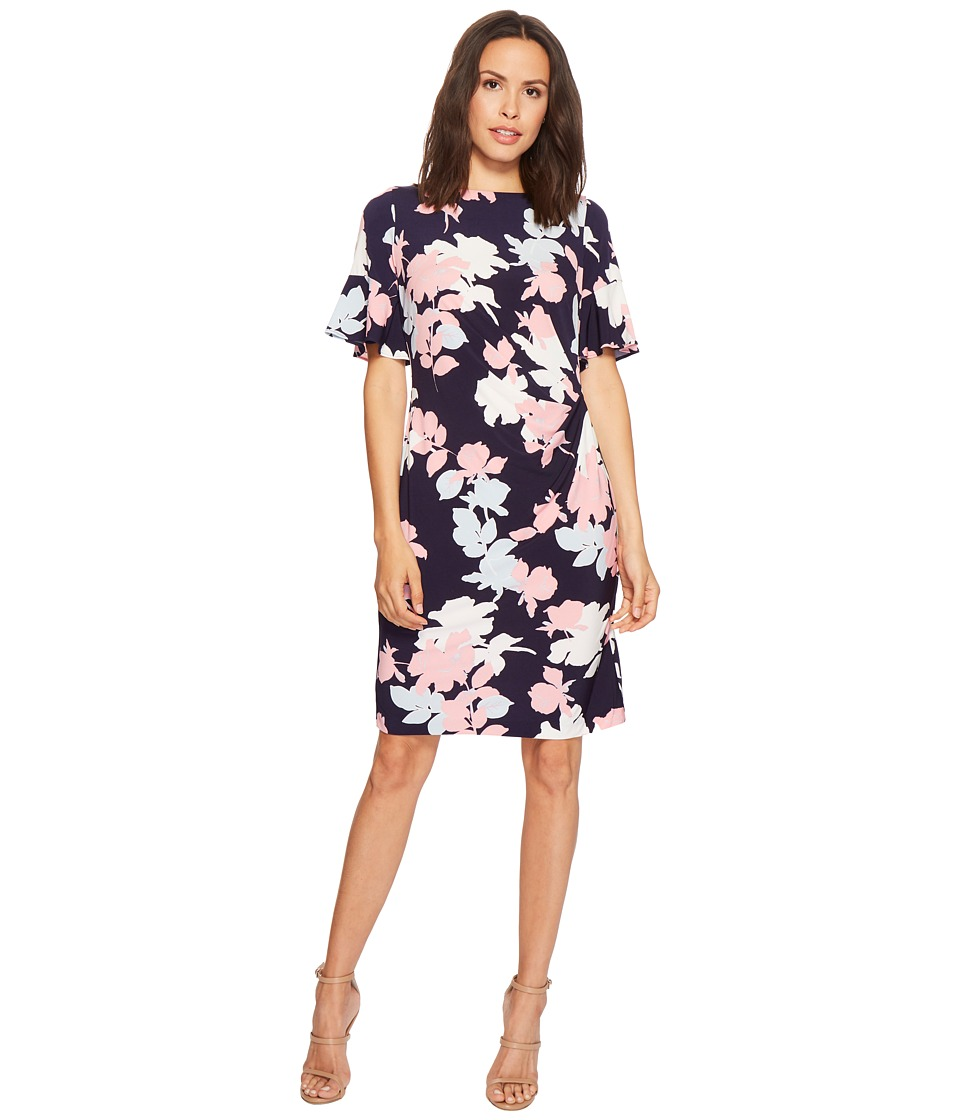 Taylor Short Ruffle Sleeve Floral Dress (Navy Multi) Women