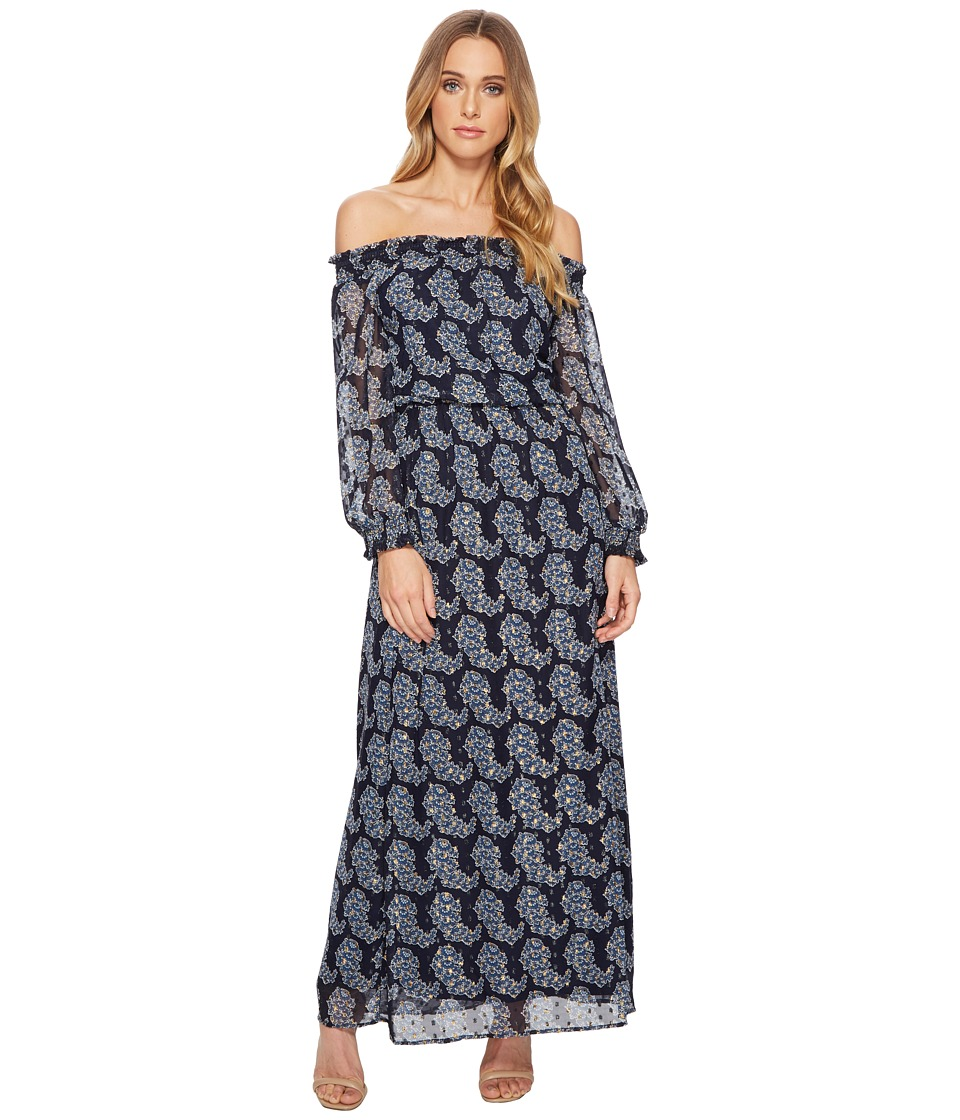 Taylor Smock Neck Chiffon Maxi (Navy/Gold) Women