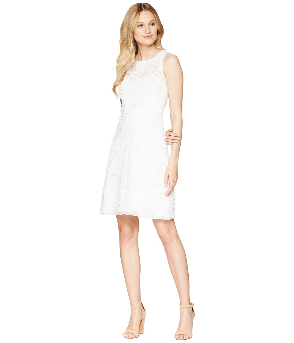 Taylor Soft Petal Textured Cocktail Dress (White) Women