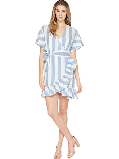 Big Stripe Wrap Dress W/ Tie Up Waist by Romeo & Juliet Couture