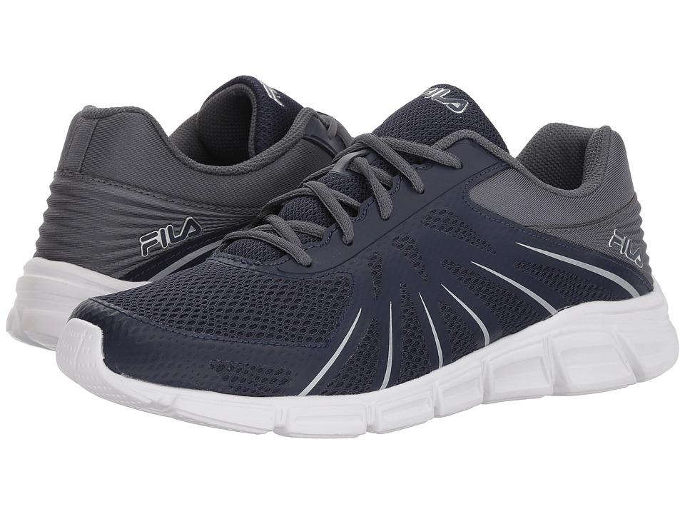 Fila Memory Fraction Running (Fila Navy/Castlerock/Metallic Silver) Men's  Shoes