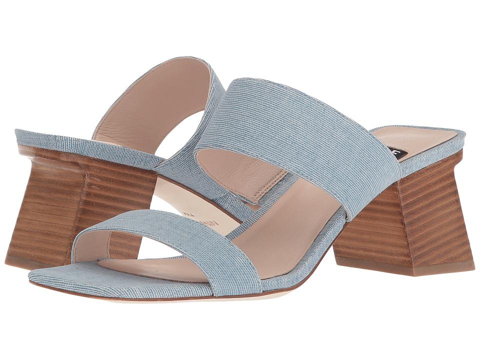 Nine West Churen 40th Anniversary Slide Sandal (Light Blue Leather) Women