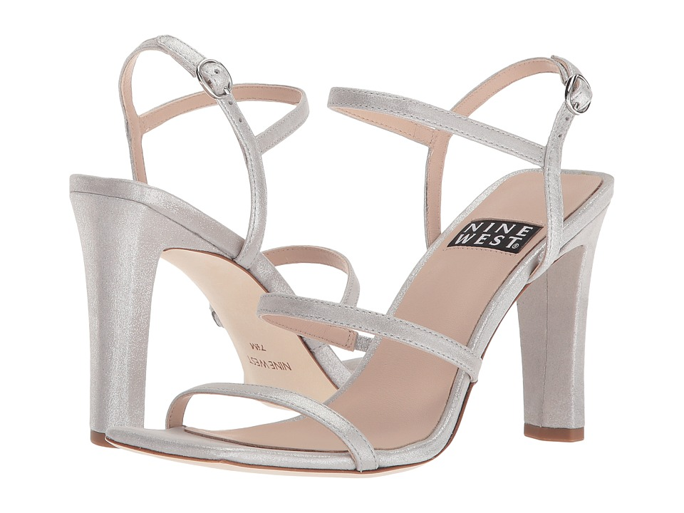 Nine West Gabelle 40th Anniversary Strappy Heeled Sandal (Light Silver Metallic) Women