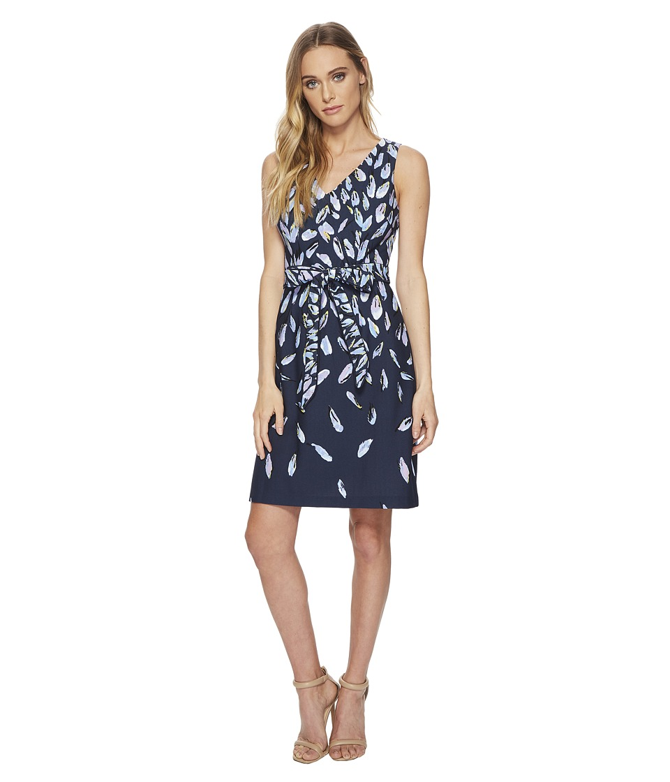 Adrianna Papell Fluttering Beauty Printed Knit Crepe Fit and Flare (Navy Multi) Women