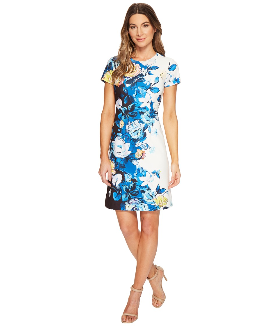 Adrianna Papell Knit Crepe A-Line Dress (Blue Multi) Women