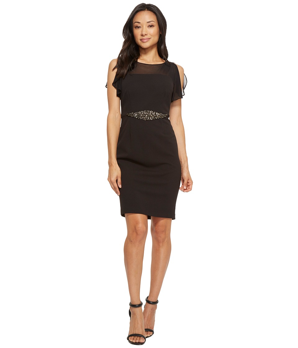 Adrianna Papell Petite Chiffon Stretch Crepe Cocktail Dress with Beaded Waist Detail (Black) Women