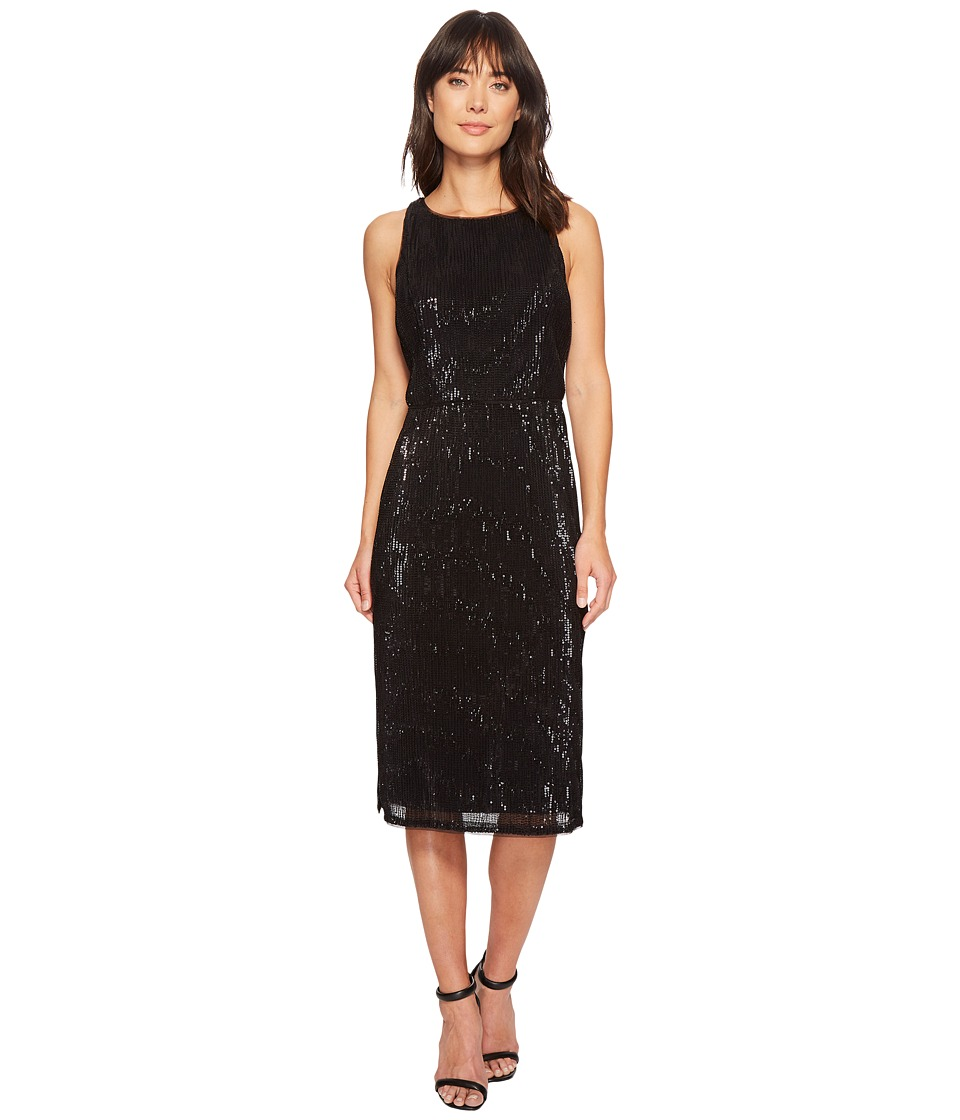 Adrianna Papell Sleeveless Stretch Baby Sequin Middle Cocktail Dress (Black) Women