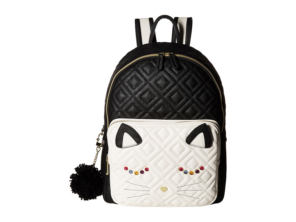Betsey Johnson Cat Backpack (Black/Bone) Backpack Bags