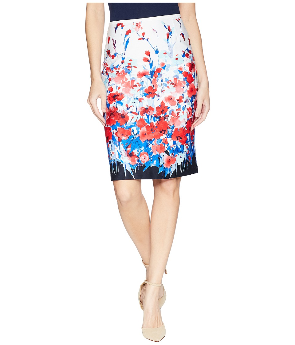 Tahari by ASL Printed Poplin Skirt (White/Red/Blue) Women