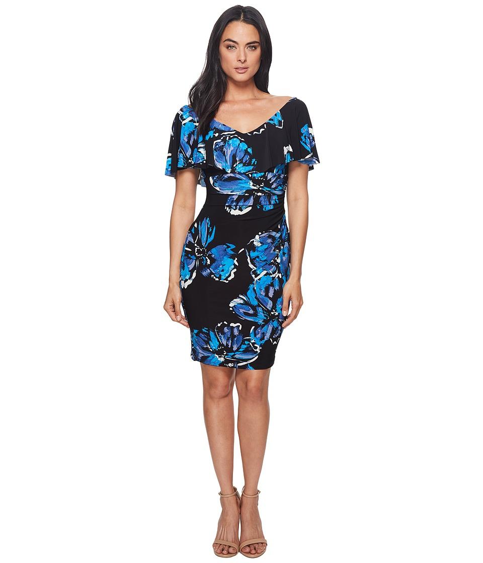 LAUREN Ralph Lauren Tama Eastbound Floral Dress (Black/Blue/Multi) Women