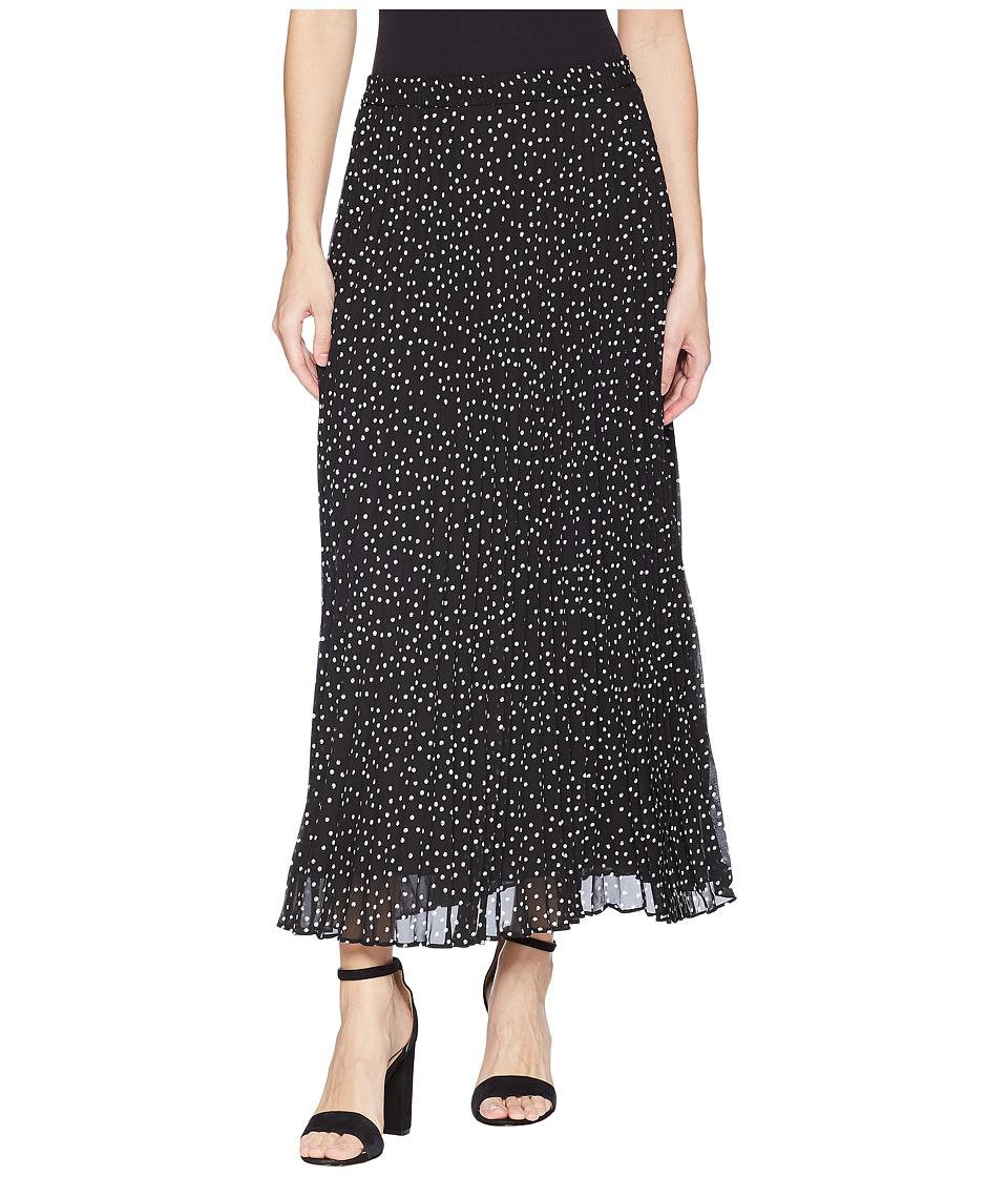 CHAPS Polka-Dot Pleated Georgette Skirt (Black Multi/Spring Fling Dot) Women