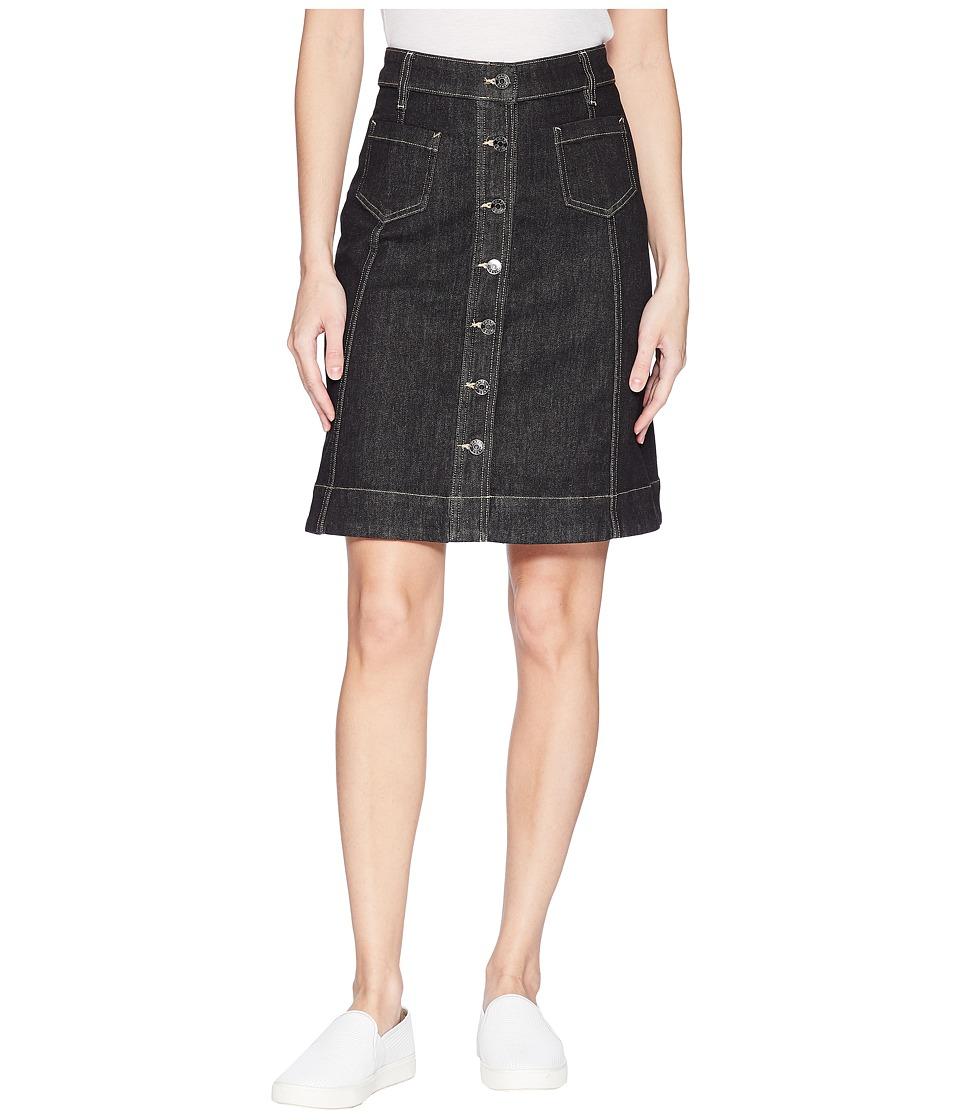 CHAPS Button-Front Denim Skirt (Black Rinse) Women