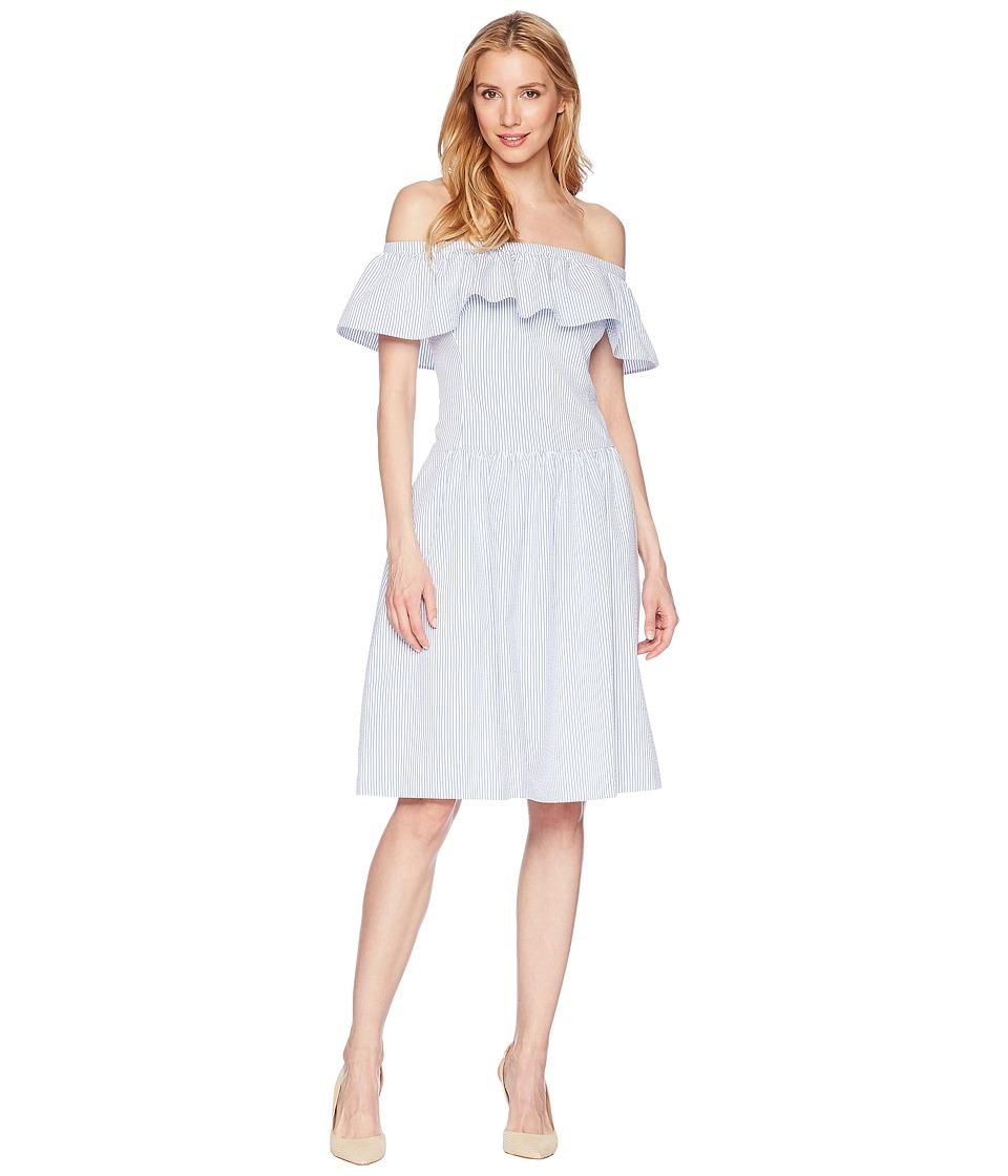 LAUREN Ralph Lauren Carter Stripe Bambino Dress (White/Blue) Women