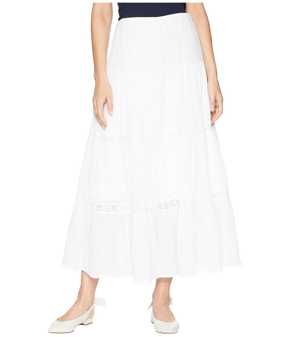 CHAPS Tiered Cotton Maxi Skirt (White) Women