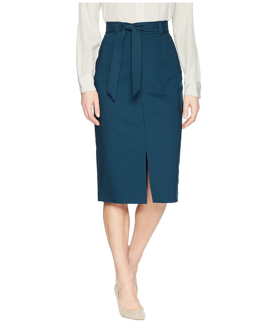 Tahari by ASL Midi Skirt with Belt (Pool Blue) Women