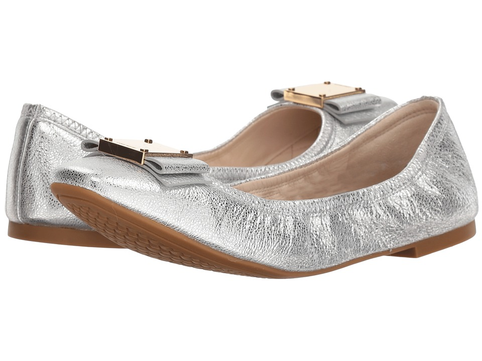 Cole Haan Tali Modern Bow Ballet (Silver Crackle Metallic Leather) Women