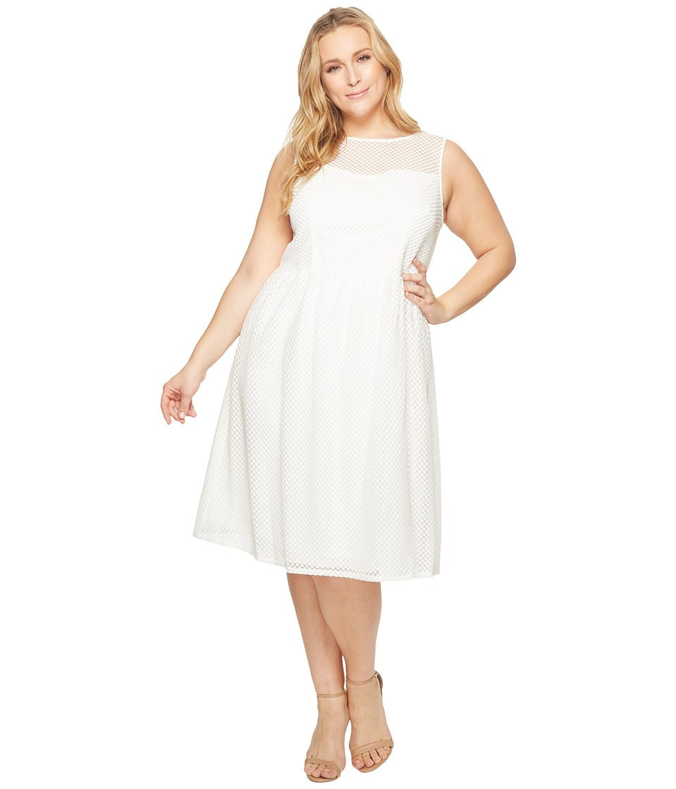 Adrianna Papell Plus Size Embroidered Diamonds Fit and Flare (Ivory) Women