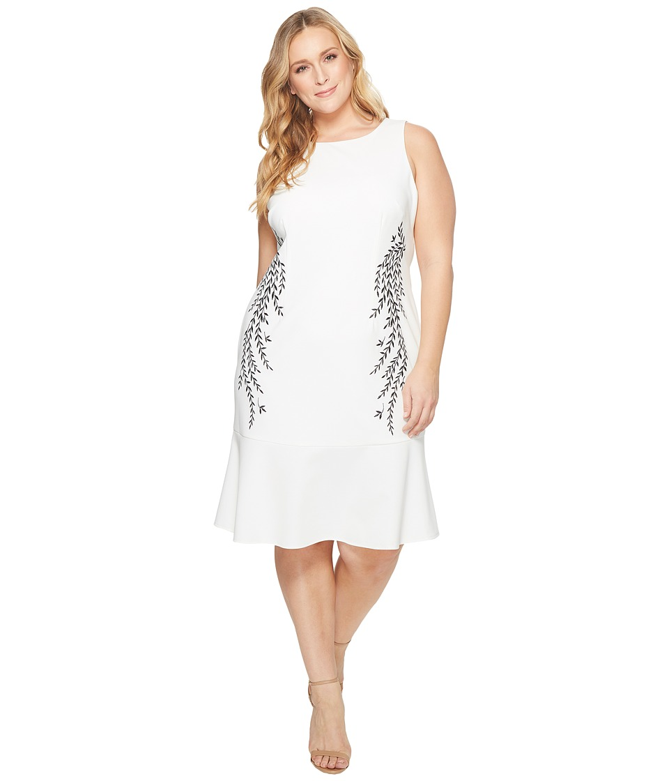 Adrianna Papell Plus Size Knit Crepe Embroidered Trumpet Dress (Ivory) Women
