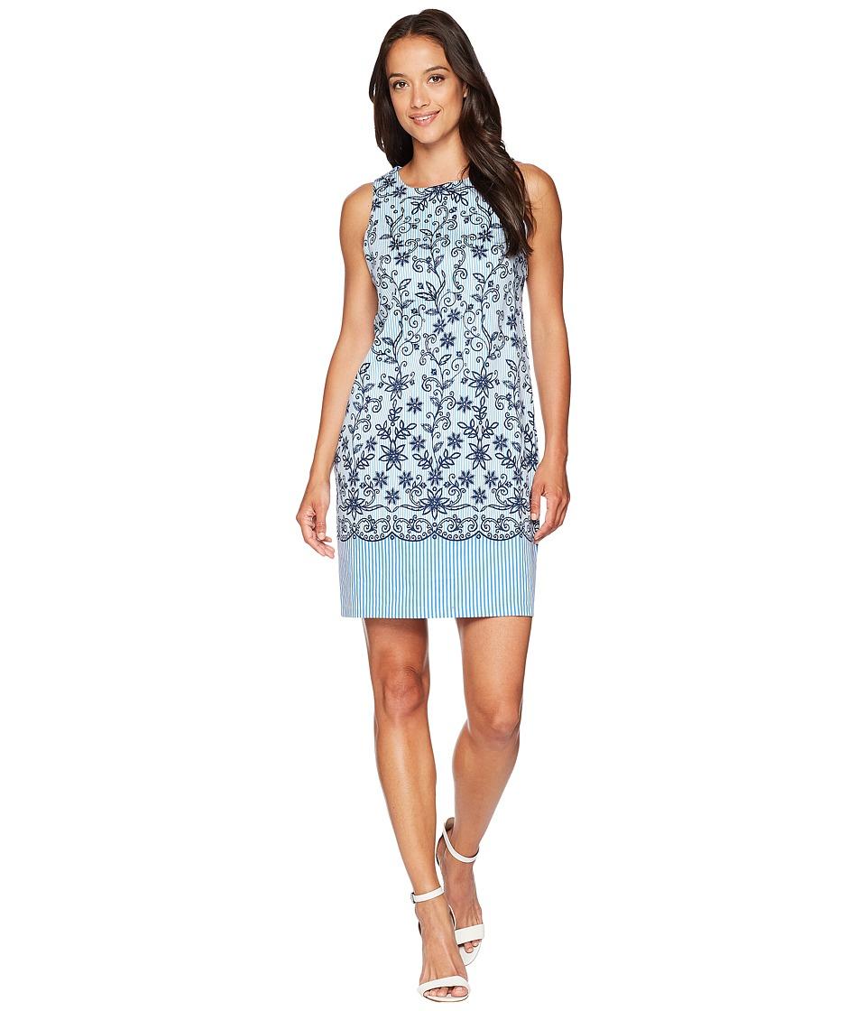 London Times Embroidered Stripe Dress (White/Blue) Women