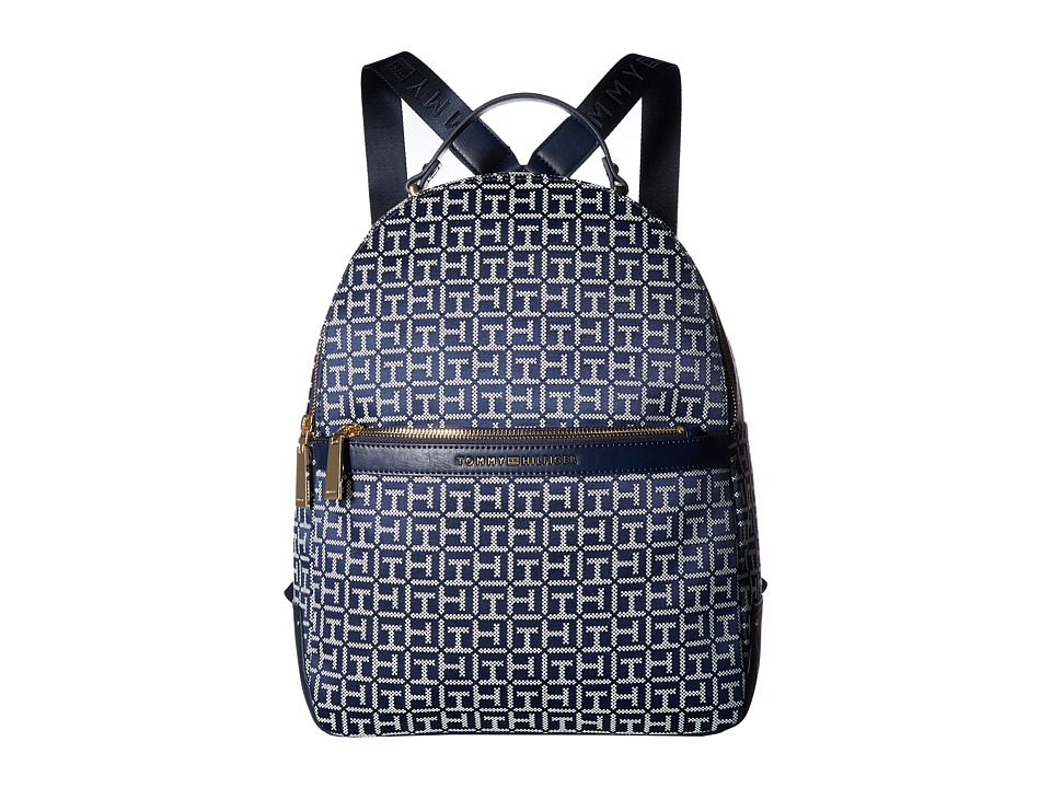 Tommy Hilfiger Abington Large Backpack (Navy/White) Backpack Bags